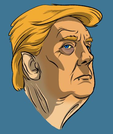 Undead Presidents NFT Trump Vampire Head by Krappy.Art