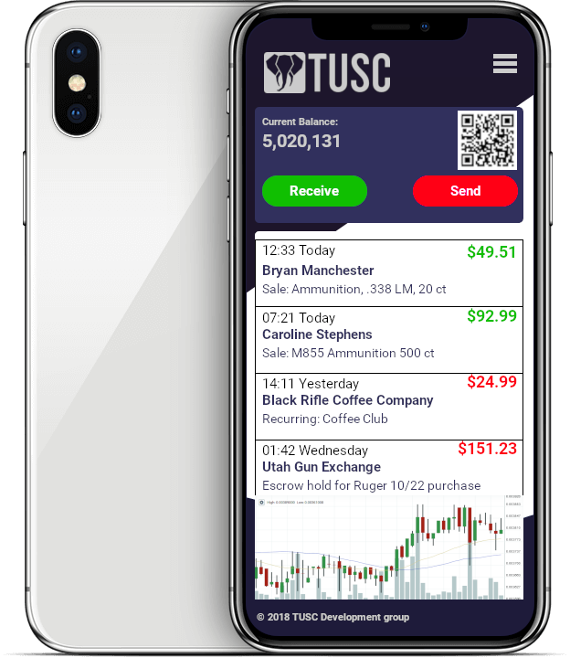 mock user interface for TUSC wallet